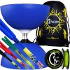 Large Rubber Henry's Circus Free Hub Diabolo Coloured Fibre Sticks and String Set