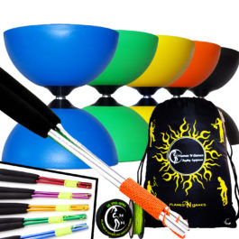 Large Rubber Henry's Circus Fixed Axle Diabolo Ali Sticks and String Set