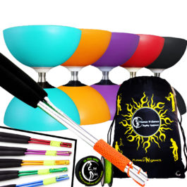 Large Rubber Henry's Circus Free Hub Diabolo Ali Sticks and Strring Set