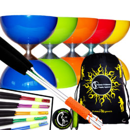 Fantastic beginner Rubber Top Diabolo Sticks String and Bag Set Set
