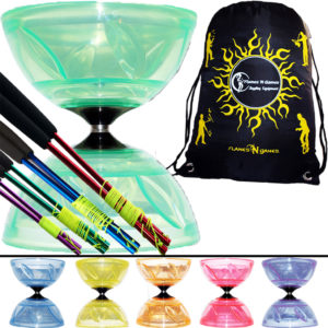 Semi Transparent Taibolo Glary Diabolo Coloured Ali Sticks String and Bag