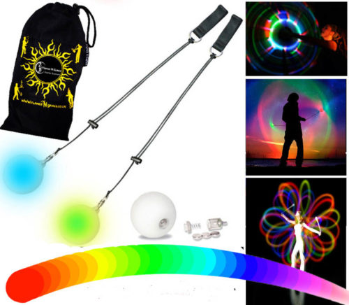 Brilliantly bright Slow Fade LED Poi by Flames N Games