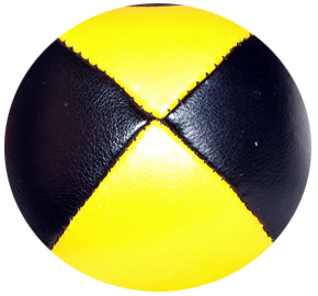 Black/Yellow - Leather Pro Thud Juggling Balls - 110g