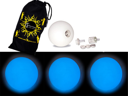 Blue - FNG LED Glow Juggling balls + Bag (Set of 3)