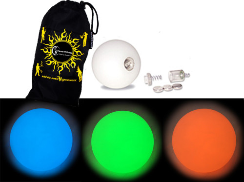 Blue/Green/Orange - FNG LED Glow Juggling balls + Bag (Set of 3)