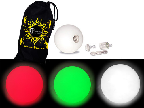 Red/Green/White - FNG LED Glow Juggling balls + Bag (Set of 3)