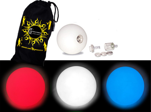 Red/White/Blue - FNG LED Glow Juggling balls + Bag (Set of 3)
