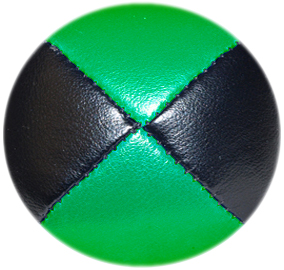 Black/Green - Leather Pro Thud Juggling Balls - 110g
