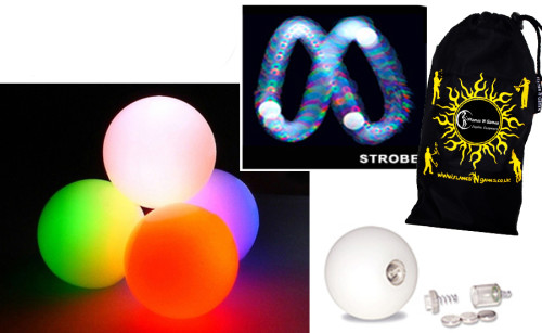 Fast Strobe - FNG LED Glow Juggling balls + Bag (Set of 3)