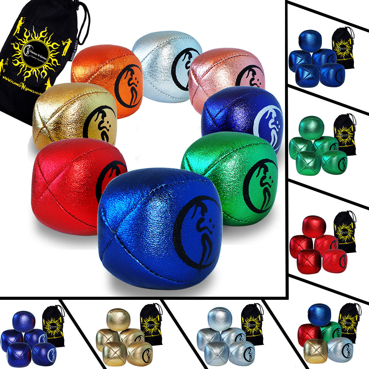 Pro Juggling Balls for all abilities! Bag Set of 5 Flames N Games 4 Colour Leather Juggling Balls